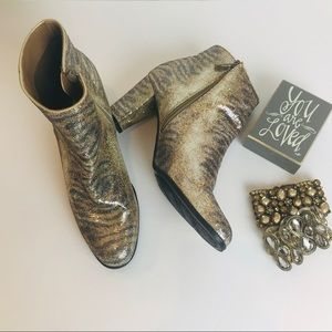 Impo Gold & Silver Sequin Animal Print Boot